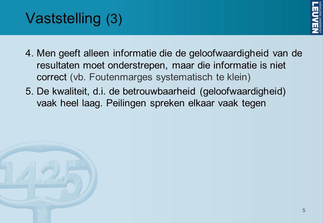 5 Vaststelling (3) 4.Men geeft alleen informatie die de geloofwaardigheid van de resultaten moet onderstrepen, maar die informatie is niet correct (vb.