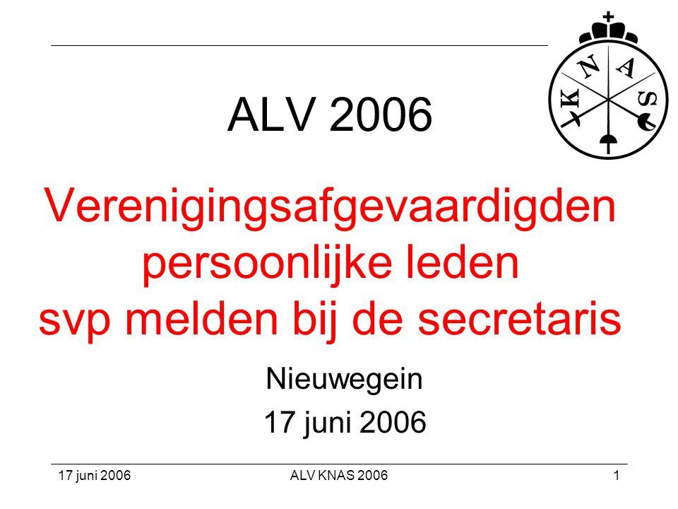 17 juni 2006ALV KNAS 200632 Algemeen •TV-rechten: € 0 •Alg functioneren: € 13.000 •Algemene / niet-specifieke baten •Daarnaast: –twee sponsors: ECP en Multi-M/IT –contributies 13.