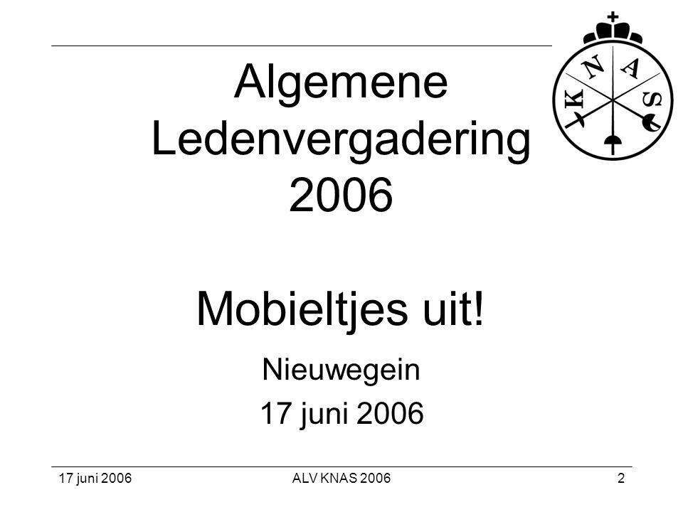 ALV KNAS 20063 1. Appèl nominaal 2. Vaststelling quorum