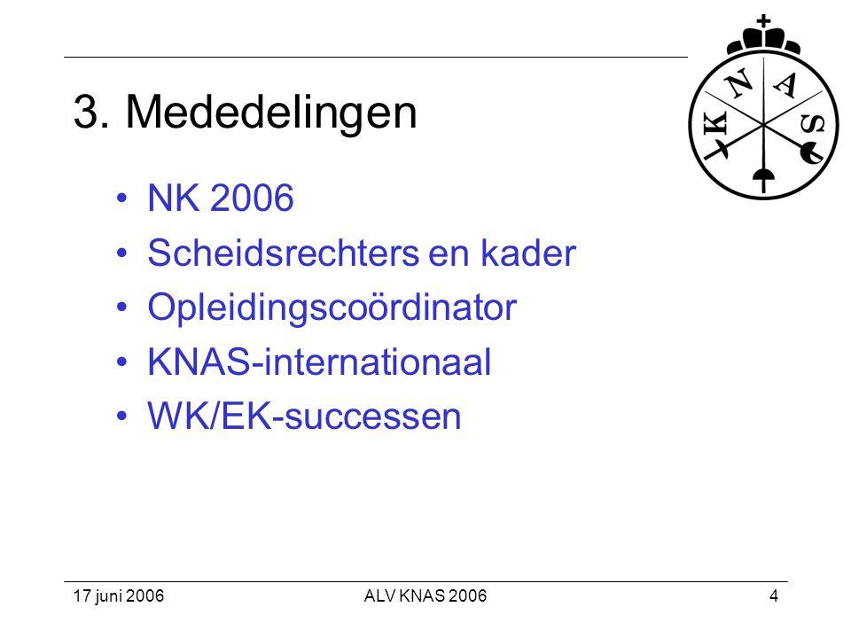 17 juni 2006ALV KNAS 200625 Wat is er verder bereikt? •Derde plaats WK door Bas Verwijlen.