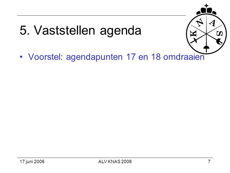 17 juni 2006ALV KNAS 200618 Doelen 2008 •3500 KNAS-leden (5/2004: 2324; 12/2005: 2636).