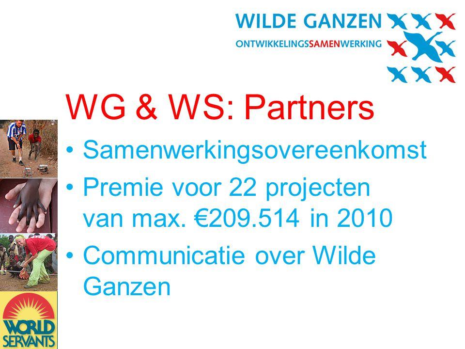 WG & WS: Partners •Samenwerkingsovereenkomst •Premie voor 22 projecten van max.
