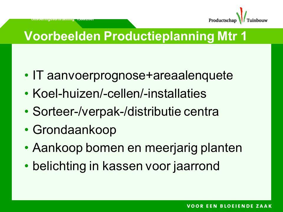 Voorbeelden Productieplanning Mtr 1 • IT aanvoerprognose+areaalenquete • Koel-huizen/-cellen/-installaties • Sorteer-/verpak-/distributie centra • Gro