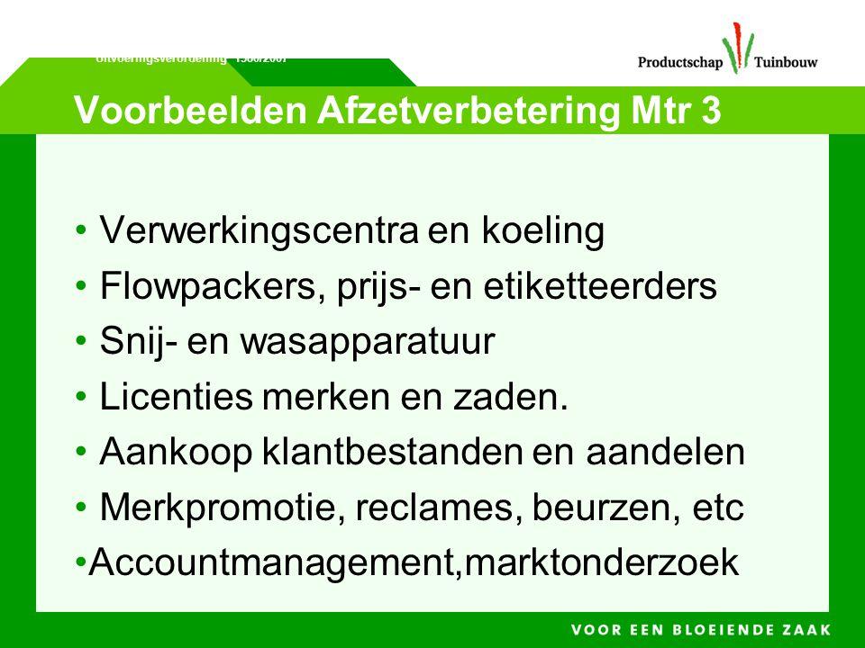 Voorbeelden Afzetverbetering Mtr 3 • Verwerkingscentra en koeling • Flowpackers, prijs- en etiketteerders • Snij- en wasapparatuur • Licenties merken