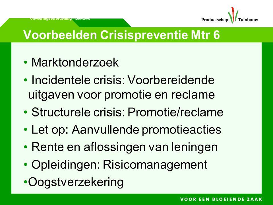 Voorbeelden Crisispreventie Mtr 6 • Marktonderzoek • Incidentele crisis: Voorbereidende uitgaven voor promotie en reclame • Structurele crisis: Promot