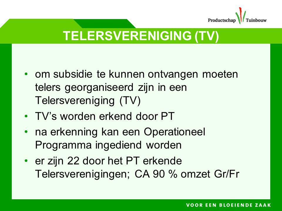TELERSVERENIGING (TV) • om subsidie te kunnen ontvangen moeten telers georganiseerd zijn in een Telersvereniging (TV) • TV's worden erkend door PT • n