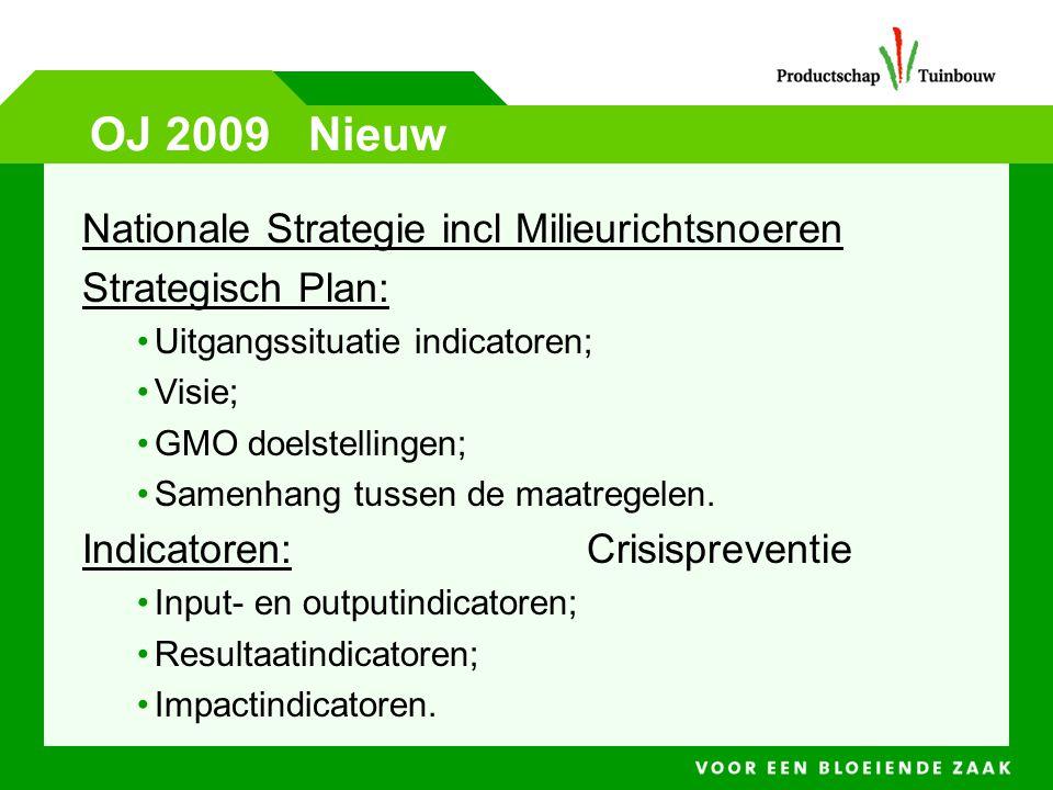 OJ 2009 Nieuw Nationale Strategie incl Milieurichtsnoeren Strategisch Plan: •Uitgangssituatie indicatoren; •Visie; •GMO doelstellingen; •Samenhang tus