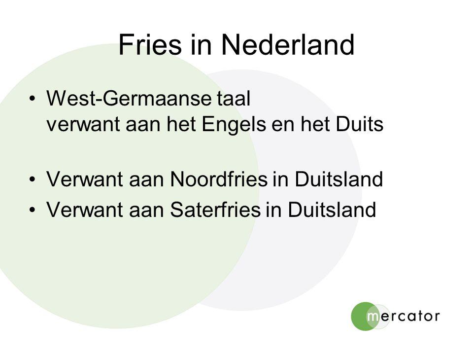 Fries in Nederland •West-Germaanse taal verwant aan het Engels en het Duits •Verwant aan Noordfries in Duitsland •Verwant aan Saterfries in Duitsland