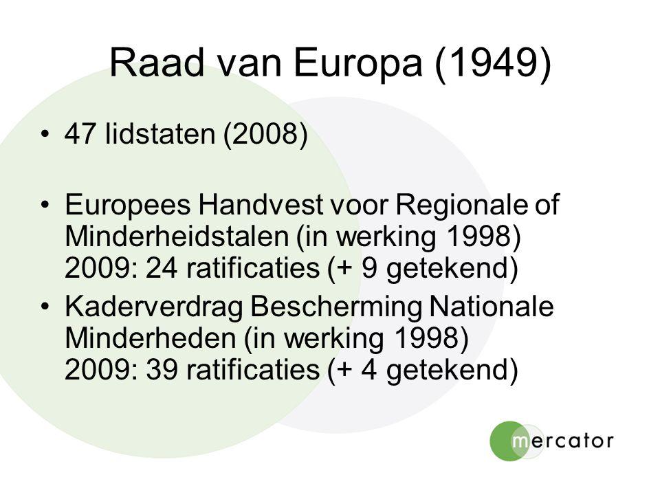 Raad van Europa (1949) •47 lidstaten (2008) •Europees Handvest voor Regionale of Minderheidstalen (in werking 1998) 2009: 24 ratificaties (+ 9 getekend) •Kaderverdrag Bescherming Nationale Minderheden (in werking 1998) 2009: 39 ratificaties (+ 4 getekend)