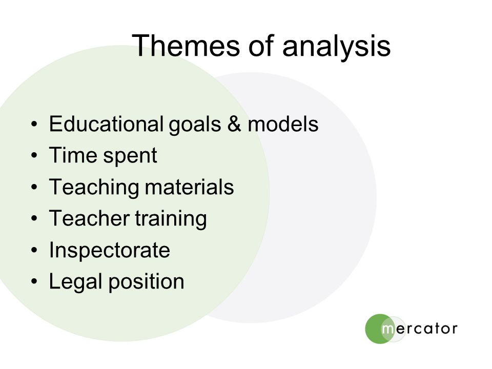 Themes of analysis •Educational goals & models •Time spent •Teaching materials •Teacher training •Inspectorate •Legal position