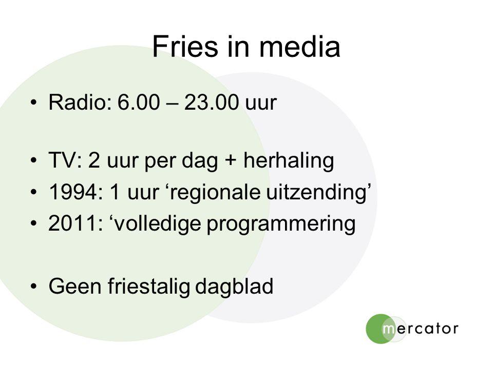 Fries in media •Radio: 6.00 – 23.00 uur •TV: 2 uur per dag + herhaling •1994: 1 uur 'regionale uitzending' •2011: 'volledige programmering •Geen friestalig dagblad