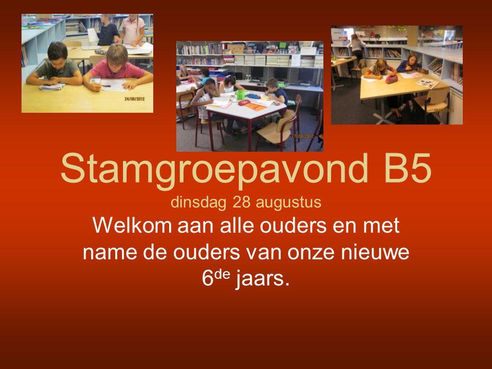 Stamgroepavond B5 dinsdag 28 augustus Welkom aan alle ouders en met name de ouders van onze nieuwe 6 de jaars.