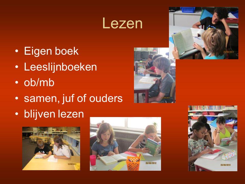 Lezen •Eigen boek •Leeslijnboeken •ob/mb •samen, juf of ouders •blijven lezen