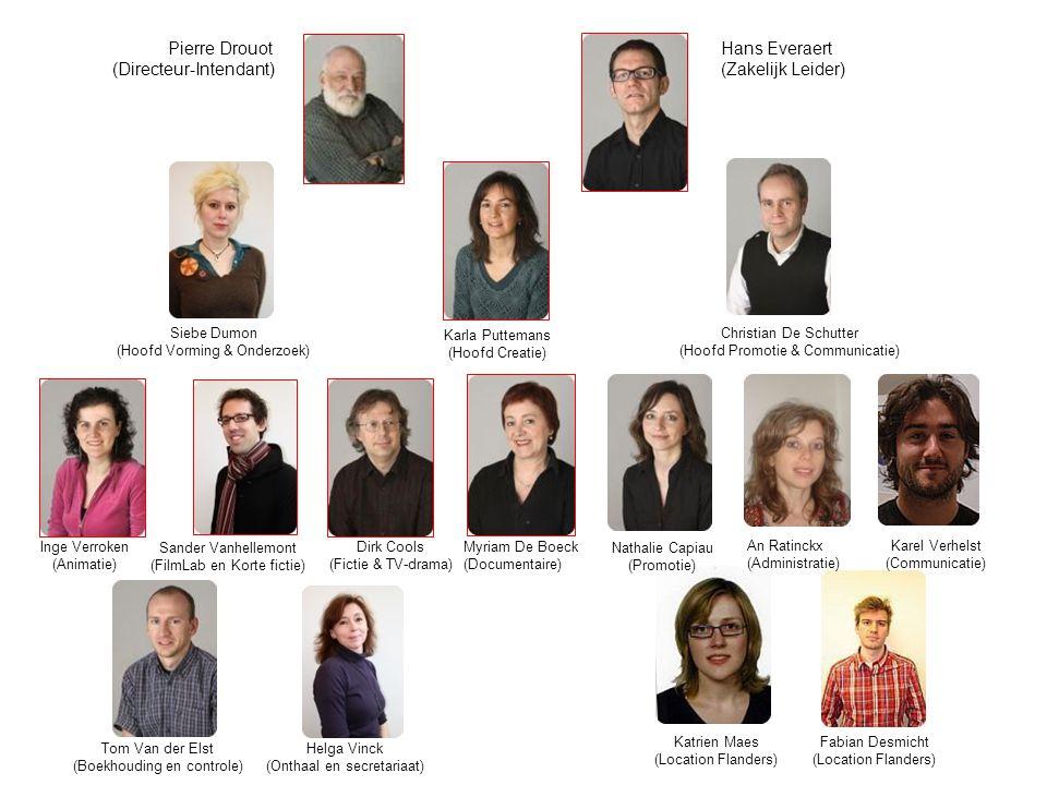 Pierre Drouot Hans Everaert (Directeur-Intendant) (Zakelijk Leider) Siebe Dumon (Hoofd Vorming & Onderzoek) Karla Puttemans (Hoofd Creatie) Christian