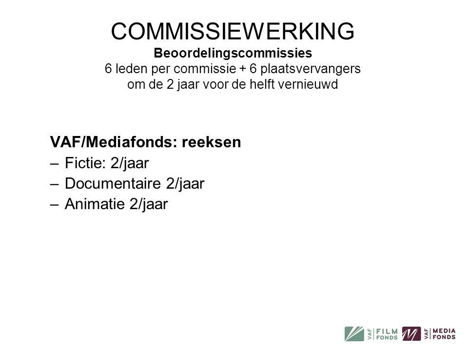 COMMISSIEWERKING Beoordelingscommissies 6 leden per commissie + 6 plaatsvervangers om de 2 jaar voor de helft vernieuwd VAF/Mediafonds: reeksen –Ficti