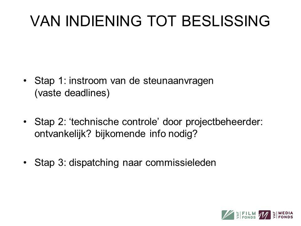 VAN INDIENING TOT BESLISSING •Stap 1: instroom van de steunaanvragen (vaste deadlines) •Stap 2: 'technische controle' door projectbeheerder: ontvankel