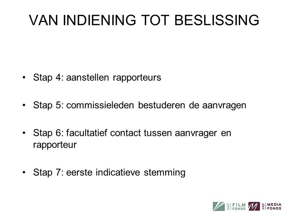 •Stap 4: aanstellen rapporteurs •Stap 5: commissieleden bestuderen de aanvragen •Stap 6: facultatief contact tussen aanvrager en rapporteur •Stap 7: e