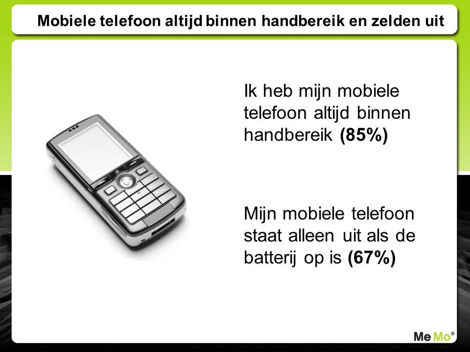 Mobiele telefoon altijd binnen handbereik en zelden uit Ik heb mijn mobiele telefoon altijd binnen handbereik (85%) Mijn mobiele telefoon staat alleen uit als de batterij op is (67%)