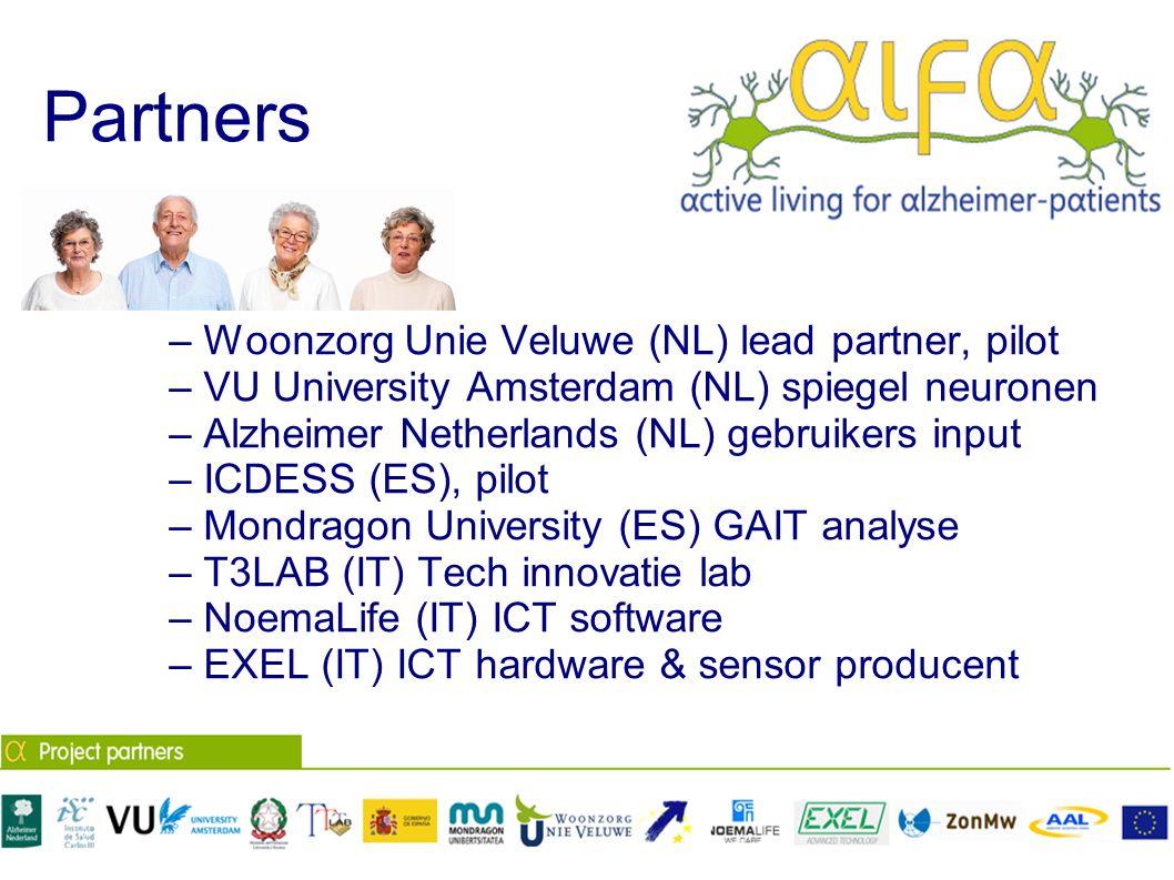 Partners – Woonzorg Unie Veluwe (NL) lead partner, pilot – VU University Amsterdam (NL) spiegel neuronen – Alzheimer Netherlands (NL) gebruikers input