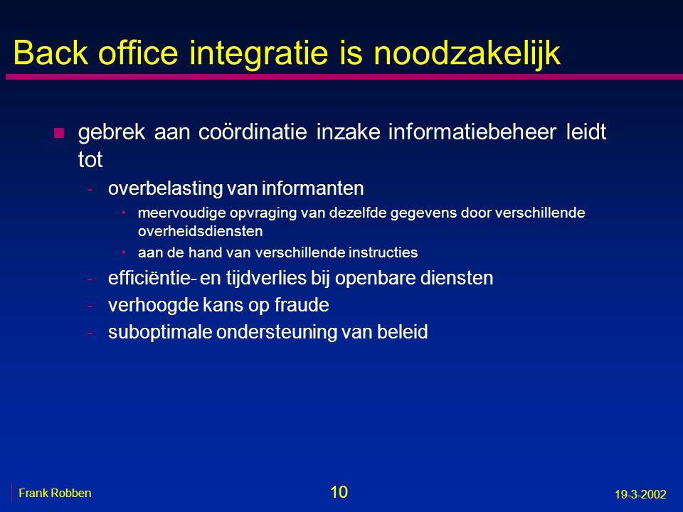 10 Frank Robben 19-3-2002 Back office integratie is noodzakelijk n gebrek aan coördinatie inzake informatiebeheer leidt tot -overbelasting van informa