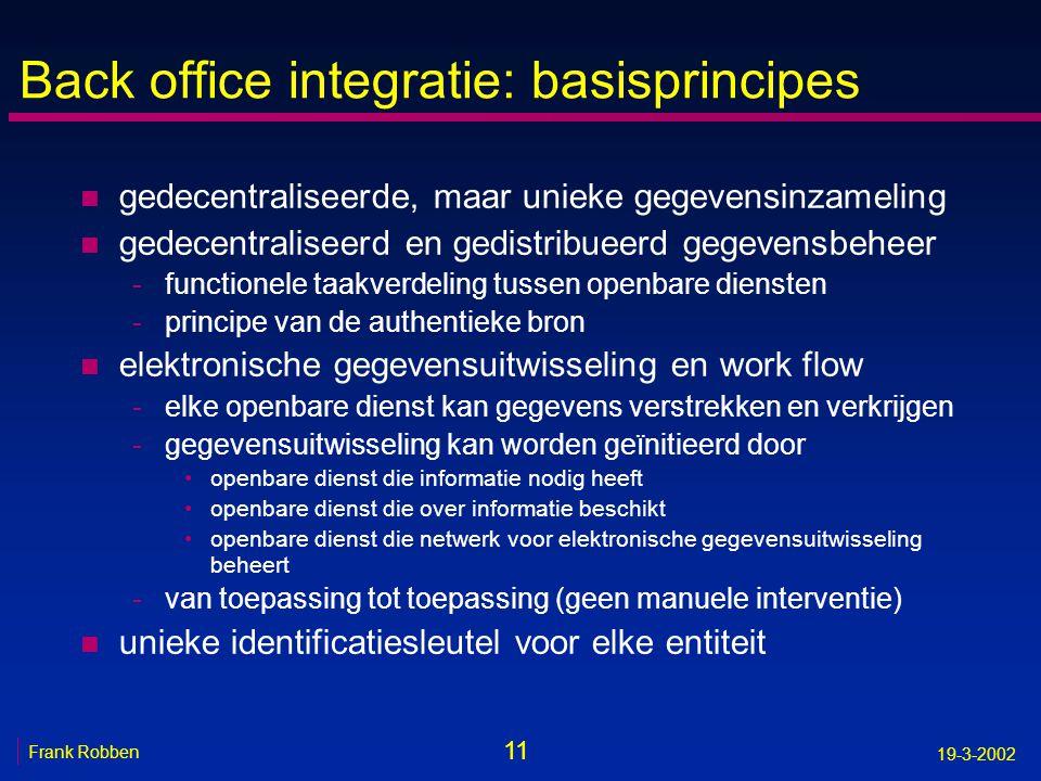11 Frank Robben 19-3-2002 Back office integratie: basisprincipes n gedecentraliseerde, maar unieke gegevensinzameling n gedecentraliseerd en gedistrib