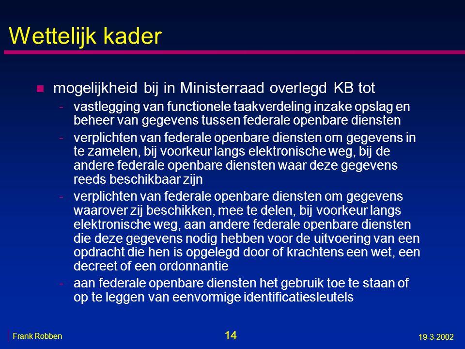 14 Frank Robben 19-3-2002 Wettelijk kader n mogelijkheid bij in Ministerraad overlegd KB tot -vastlegging van functionele taakverdeling inzake opslag
