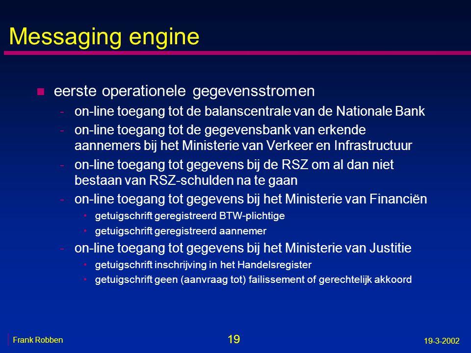 19 Frank Robben 19-3-2002 Messaging engine n eerste operationele gegevensstromen -on-line toegang tot de balanscentrale van de Nationale Bank -on-line