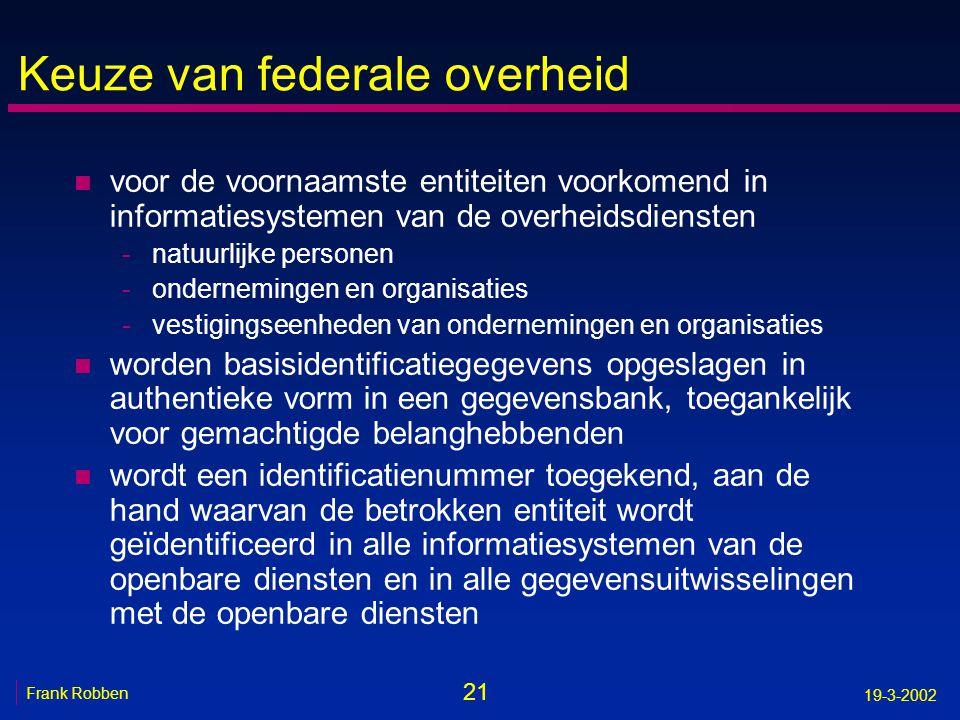 21 Frank Robben 19-3-2002 Keuze van federale overheid n voor de voornaamste entiteiten voorkomend in informatiesystemen van de overheidsdiensten -natu