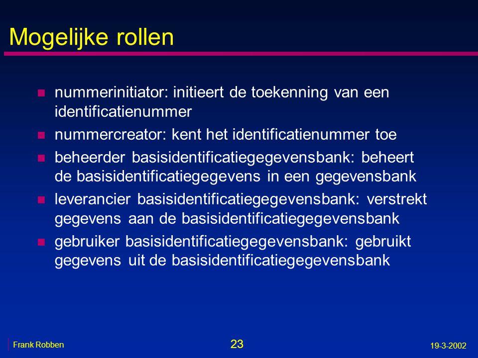 23 Frank Robben 19-3-2002 Mogelijke rollen n nummerinitiator: initieert de toekenning van een identificatienummer n nummercreator: kent het identifica