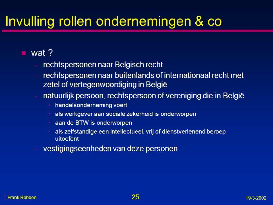 25 Frank Robben 19-3-2002 Invulling rollen ondernemingen & co n wat ? -rechtspersonen naar Belgisch recht -rechtspersonen naar buitenlands of internat