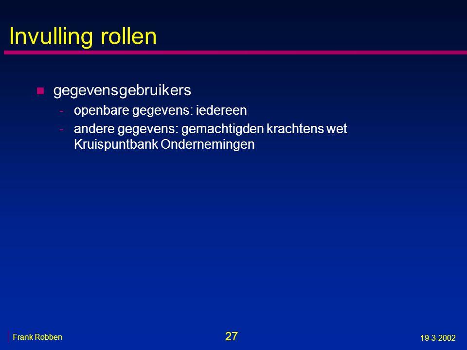 27 Frank Robben 19-3-2002 Invulling rollen n gegevensgebruikers -openbare gegevens: iedereen -andere gegevens: gemachtigden krachtens wet Kruispuntban
