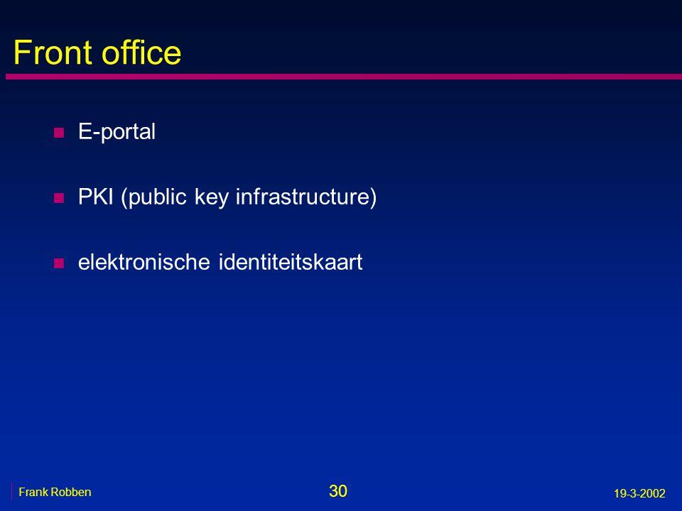 30 Frank Robben 19-3-2002 Front office n E-portal n PKI (public key infrastructure) n elektronische identiteitskaart