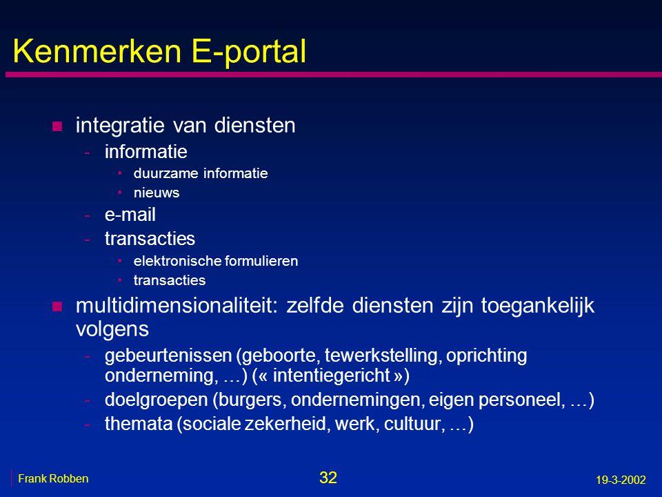 32 Frank Robben 19-3-2002 Kenmerken E-portal n integratie van diensten -informatie •duurzame informatie •nieuws -e-mail -transacties •elektronische fo