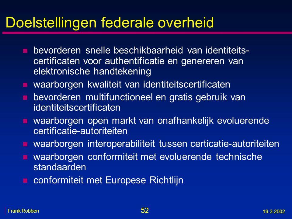 52 Frank Robben 19-3-2002 Doelstellingen federale overheid n bevorderen snelle beschikbaarheid van identiteits- certificaten voor authentificatie en g