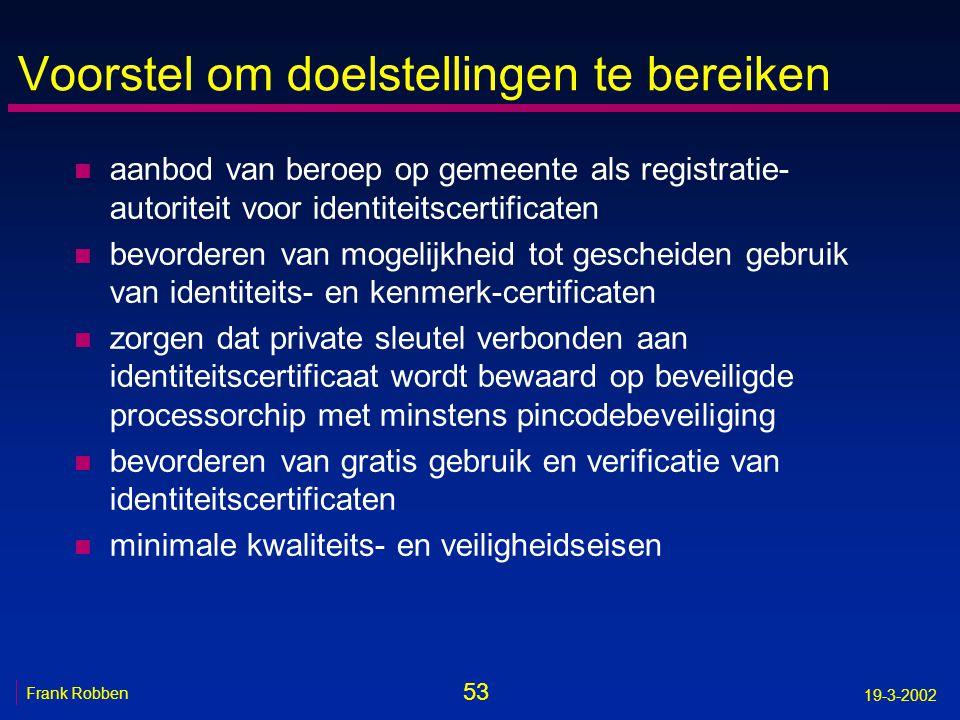 53 Frank Robben 19-3-2002 Voorstel om doelstellingen te bereiken n aanbod van beroep op gemeente als registratie- autoriteit voor identiteitscertifica