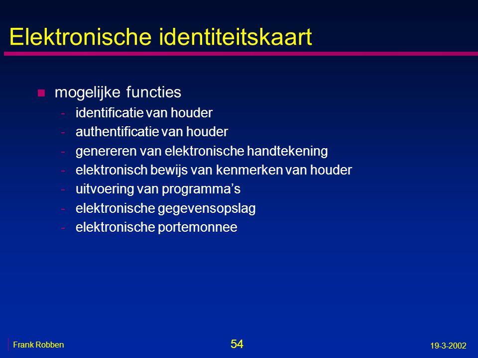54 Frank Robben 19-3-2002 Elektronische identiteitskaart n mogelijke functies -identificatie van houder -authentificatie van houder -genereren van ele