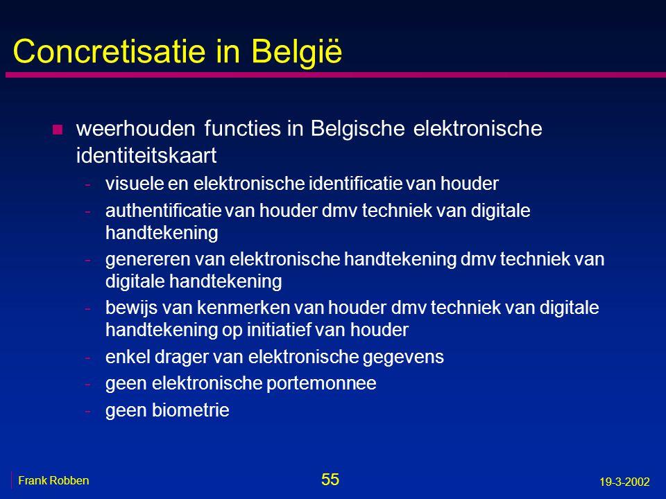 55 Frank Robben 19-3-2002 Concretisatie in België n weerhouden functies in Belgische elektronische identiteitskaart -visuele en elektronische identifi