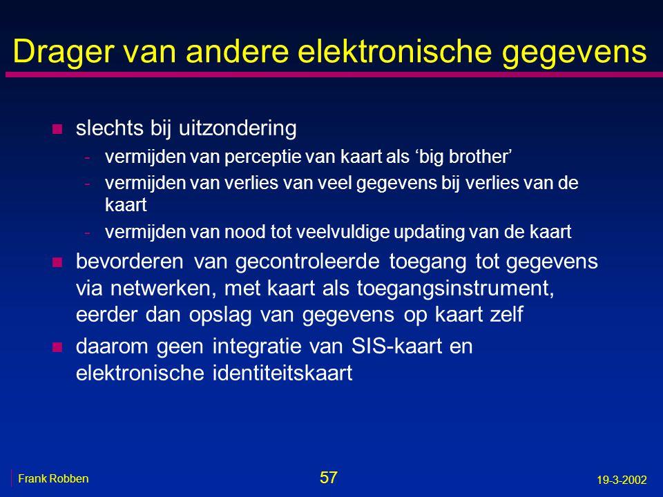 57 Frank Robben 19-3-2002 Drager van andere elektronische gegevens n slechts bij uitzondering -vermijden van perceptie van kaart als 'big brother' -ve