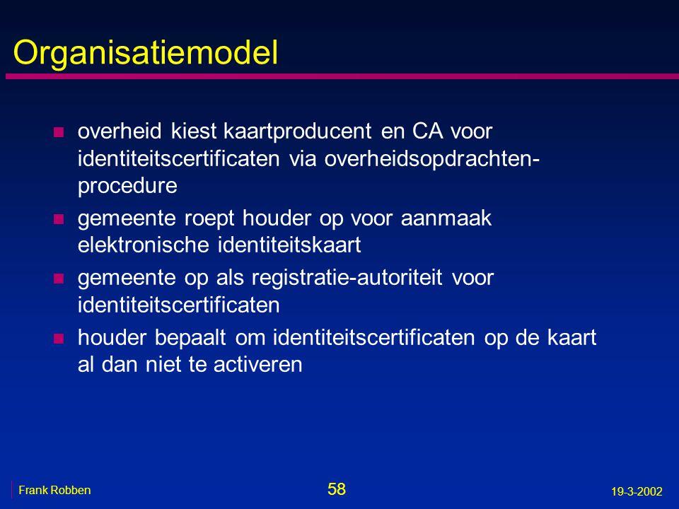58 Frank Robben 19-3-2002 Organisatiemodel n overheid kiest kaartproducent en CA voor identiteitscertificaten via overheidsopdrachten- procedure n gem