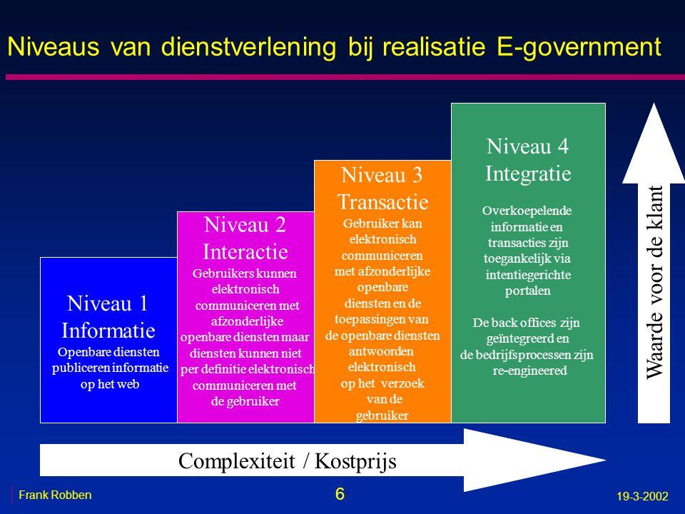 7 Frank Robben 19-3-2002 Klantgericht n kritisch nadenken over wijze van informatie- inzameling en creëren van nieuwe toegevoegde waarde, -leesbare en begrijpbare teksten -analyse van behoefte aan gegevensinzameling -harmoniseren begrippenapparaat -eerst controle van de gegevens, daarna gegevensinzameling -voorstellen van defaultwaarden op basis van vorige gegevensoverdracht -on-line hulp -simulatie-omgevingen -automatische toekenning van rechten