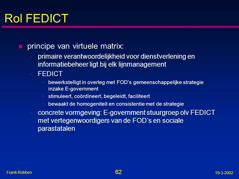 62 Frank Robben 19-3-2002 Rol FEDICT n principe van virtuele matrix: -primaire verantwoordelijkheid voor dienstverlening en informatiebeheer ligt bij