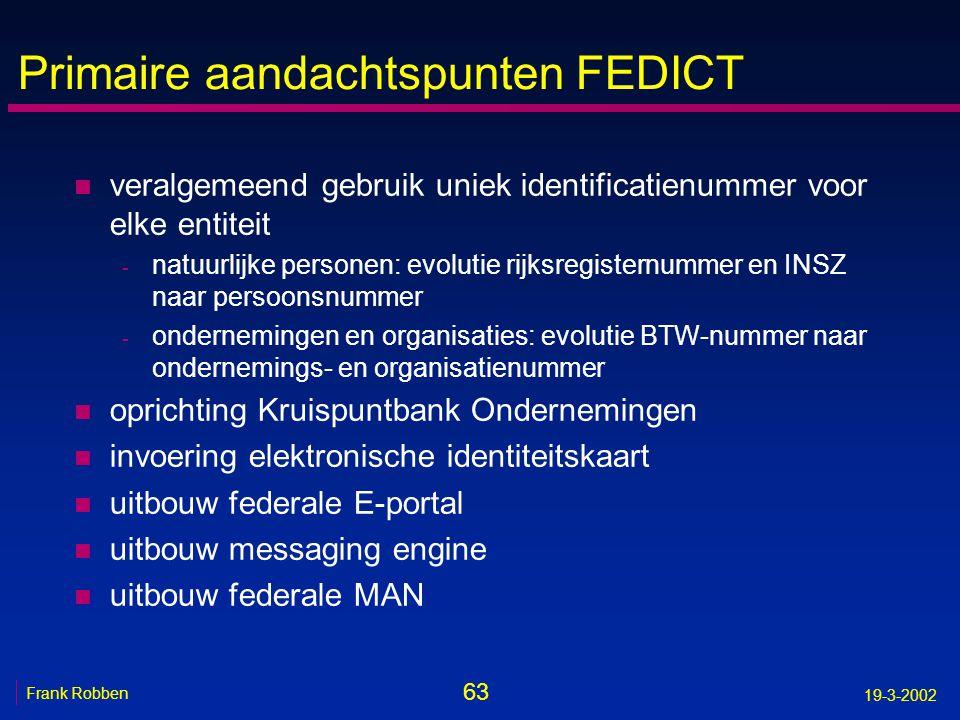 63 Frank Robben 19-3-2002 Primaire aandachtspunten FEDICT n veralgemeend gebruik uniek identificatienummer voor elke entiteit - natuurlijke personen: