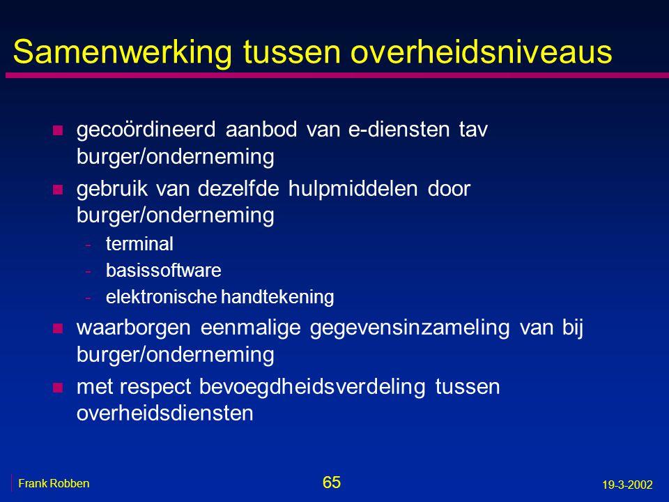65 Frank Robben 19-3-2002 Samenwerking tussen overheidsniveaus n gecoördineerd aanbod van e-diensten tav burger/onderneming n gebruik van dezelfde hul