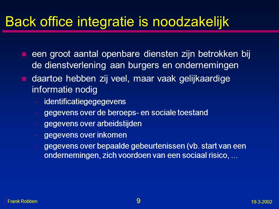 9 Frank Robben 19-3-2002 Back office integratie is noodzakelijk n een groot aantal openbare diensten zijn betrokken bij de dienstverlening aan burgers