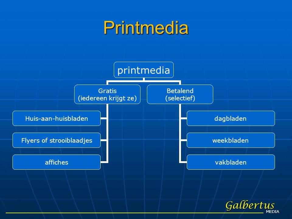 Printmedia Galbertus MEDIA printmedia Gratis (iedereen krijgt ze) Huis-aan- huisbladen Flyers of strooiblaadjes affiches Betalend (selectief) dagblade