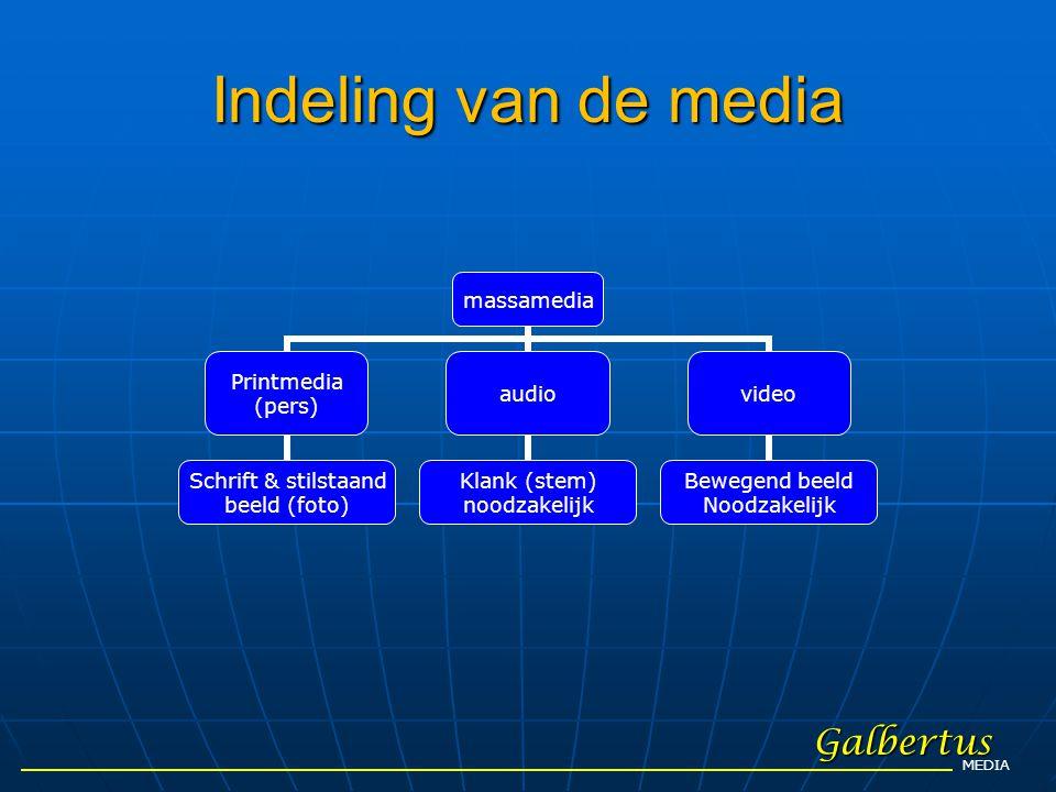 Indeling van de media Galbertus MEDIA massamedia Printmedia (pers) Schrift & stilstaand beeld (foto) audio Klank (stem) noodzakelijk video Bewegend be