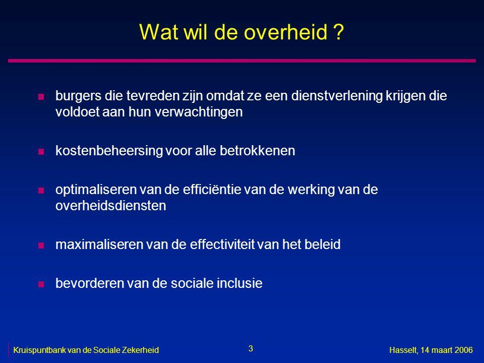 3 Kruispuntbank van de Sociale ZekerheidHasselt, 14 maart 2006 Wat wil de overheid .