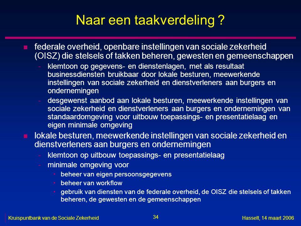 34 Kruispuntbank van de Sociale ZekerheidHasselt, 14 maart 2006 Naar een taakverdeling .