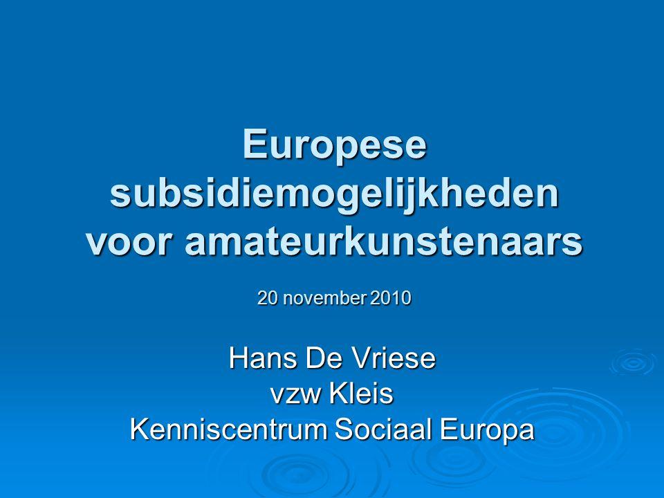Enkele tips  (Tijdig) zicht hebben op subsidieprogramma's en oproepen  Europese subsidies niet voor dagelijkse werking organisatie, noch voor structureel tekort  Kies voor iets waar uw organisatie mee bezig is en beter van wordt  Zoek tijdig cofinanciering