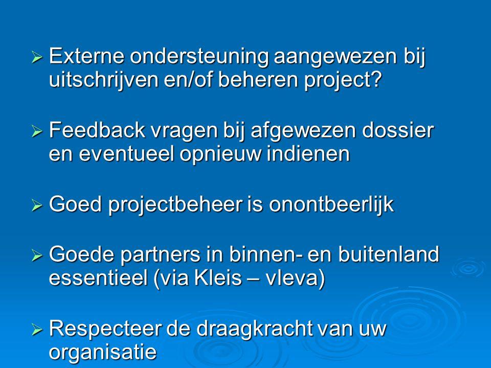  Externe ondersteuning aangewezen bij uitschrijven en/of beheren project.